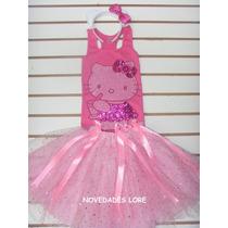 Hermoso Disfraz Hello Kitty Blusa Falda Tutu Disfraces Niña