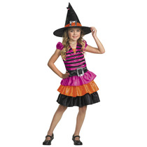 Disfraz Vestido Barbie Bruja Brujita Niña Sombrero Talla 4/6