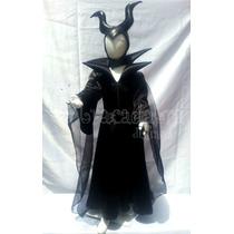 Disfraz Malefica Con Cuernos Para Niña Bruja Halloween