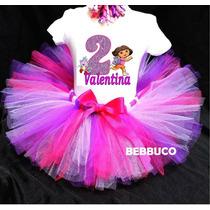 Tutu Disfraz Dora Vestido Niña O Bebé Pañalero Personalizado