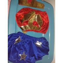 Disfraz Halloween Mujer Maravilla Para Niña Talla 4-6 Lindo