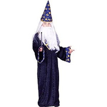 Disfraces Rg Mago Negro Traje Azul / Amarillo Grande