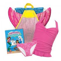 Cola De Sirena Paquete Bikini Mochila Monoaleta Libro Rosa