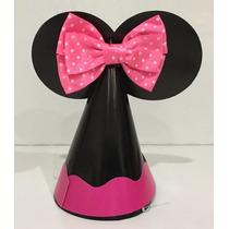 Gorro Fiesta Niña Mouse Con Moño Rosa