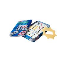 Domino Doble 6, Puntos De Colores. Caja Metálica !!!!!!!!!!!