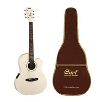 Guitarra Electroacústica Cort Blanca Con Funda Jade1e-aw