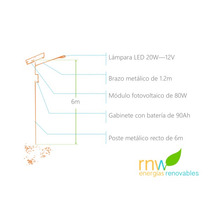 Poste Solar Con Lámpara Led De 20w, 10 A 12 Hrs Rnwnic20w12v