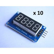 10 Pzs Módulo Display 7 Segmentos Tm1637 Microcontrolador