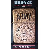 Encendedor Marca Bronze Tipo Militar + Gasolina Zippo