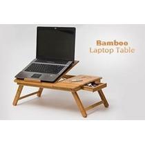 Mesa De Bambu Con Ventilador Para Laptop De 10 Hasta 16