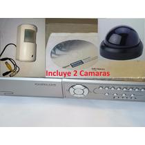 Grabador Dvr Digital 4ch + 2 Camaras + Disco Duro Collar Oro