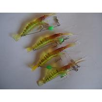 Lote De 4 Camarones Fluorescentes Para Pesca En Rio O Mar