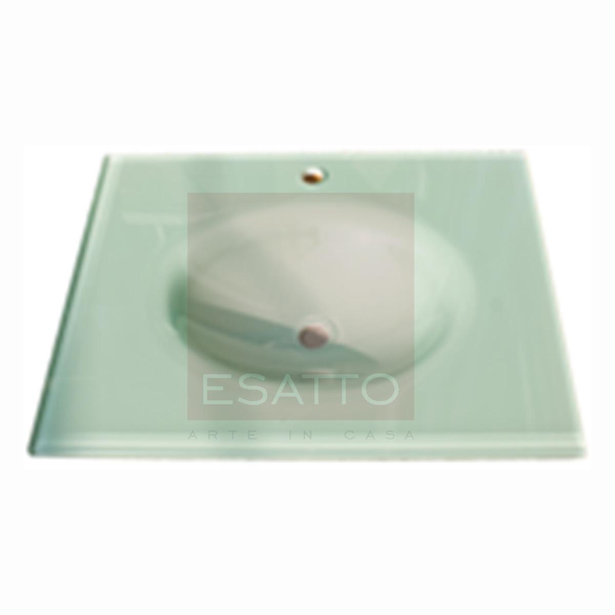 Esatto lavabo de vidrio blanco importado fino ov 003 for Lavabo vidrio