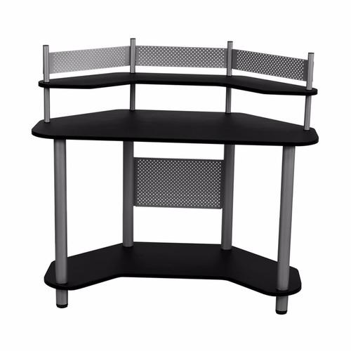 escritorio mesa de trabajo esquinero madera y metal negro