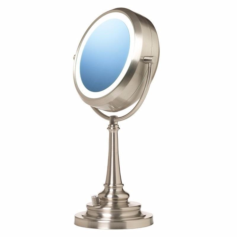Espejo doble con luz luz natural 1x y lupa 10x de aumento for Espejo de aumento con luz