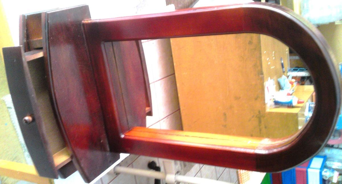 Espejo marco de madera cajon alhajero repisa mesa pared for Espejo pared madera