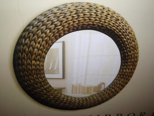 Espejo redondo con marco tejido de mimbre 3 en for Espejo redondo con marco