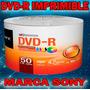 50 Discos Dvd Imprimibles Cara Blanca Full Face Marca Sony
