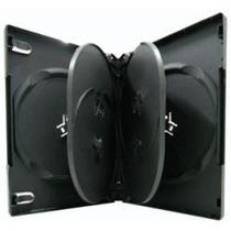 50 Estuches Negros Para 6 Dvds Con Plastico Cds Cajas Omm