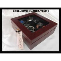 Estuche Relojes Tacto Piel Italiano Tapa De Vidrio