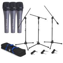 Microfonos Sennheiser E835 Con 3 Stands Y 3 Cables Xlr 18 Ft