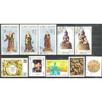0792 Esculturas Dif Países 10 Sellos Usado Modernos