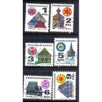 0793 Casas Regionales Chekoslovaquia 6 Sellos Usado Modernos