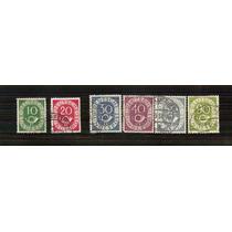 1951-52 Alemania Federal Numeral Y Corno 6/sellos Cancelados