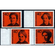 1159 Alemania Mujeres Ilustres Serie 4 Sellos Mint N H 1974