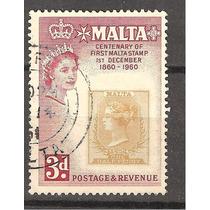 Estampilla Sobre Estampilla Malta Centenario 1960