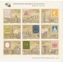 1985 Italia Expo Mundial Filatèlia Hoja Souvenir Nuevo