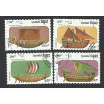 Estampillas De Barcos Antiguos De Camboya