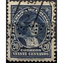 3184 Colombia C Colón Perfin Scott#416 20c Usado 1932