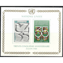 Naciones Unidas 1980 Ginebra Aniv Onu Hoja Souvenir Mnh