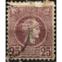 2337 Grecia Scott #113 Mercurio 25c Usado L H 1889-95