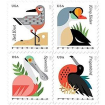 Las Aves Costeras Sellos Folleto De 20 X Postal Para Siempre