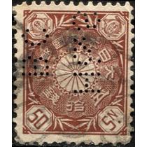 1689 Japón Scott#107 Crisantemo Perfin 50 Sen Usado 1898-07