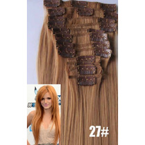 12 Cortinas De Cabello 130grs Apariencia Natural Clipon 55cm