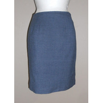 Amanda Smith!!! Preciosa Falda Azul Jaspeada, 100% Lana, 8p