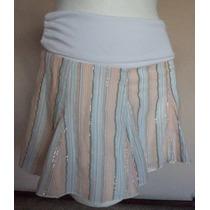 Minifalda A Rayas Con Fajilla Blanca Talla S!! Fch346