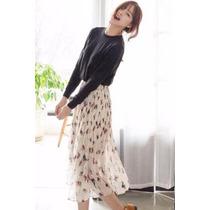 Suku 40456 Falda Plisada Larga Moda Japón $579