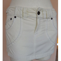 Minifalda Blanca Tipo Jeans Talla-26 Chica Fch431