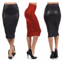 Falda Tipo Piel Color Negra Roja Stretch Moda Japonesa