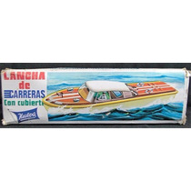 Vintage Lancha Con Cuerda Antigua De Lamina Legacyts