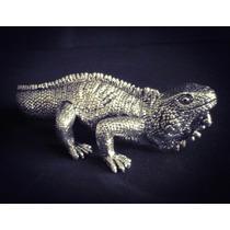 Figura Decorativa Iguana Chica Plata 999 Electroformado
