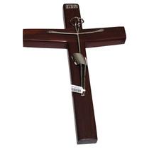 Cristo De Plata En Cruz De Palo De Rosa