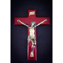 Figura Decorativa Cristo Con Cruz De Madera Plata 999