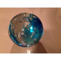 Esfera De Vidrio Artesanal Auténtica Color Aguamarina