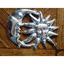 Eclipse Llavero Luna Sol Adorno Aluminio Pewter Artesanal