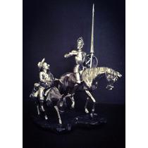 Escultura Don Quijote Y Sancho Panza Plata 999